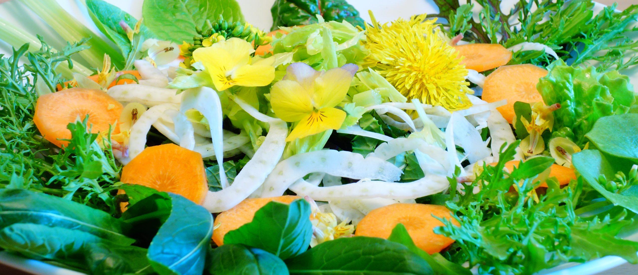 Salat gemischt mit Blüten
