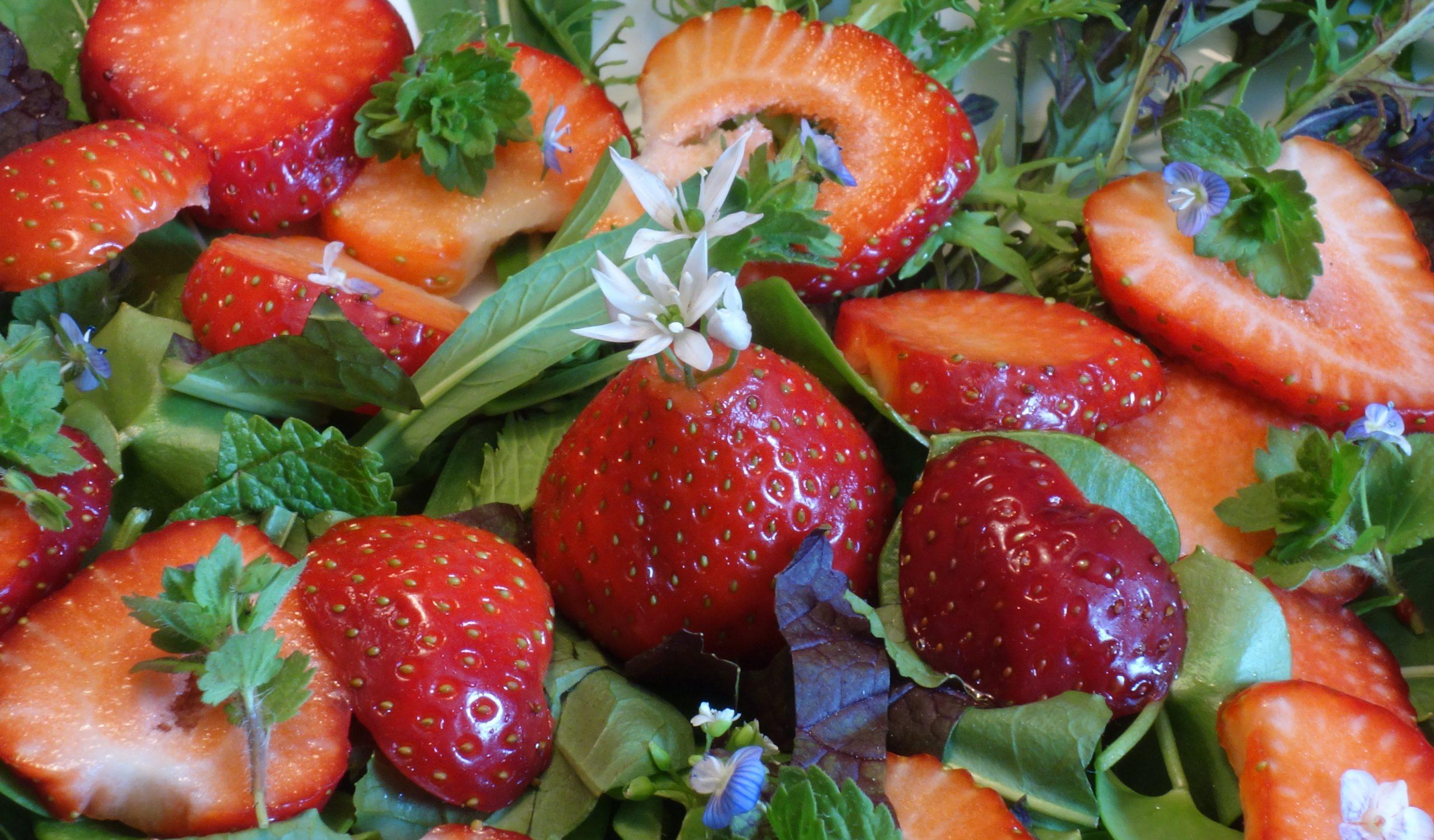 Wildkräutersalat mit Erdbeeren